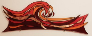 Acrylic shaped art pice with burnished copper, black lead & film
