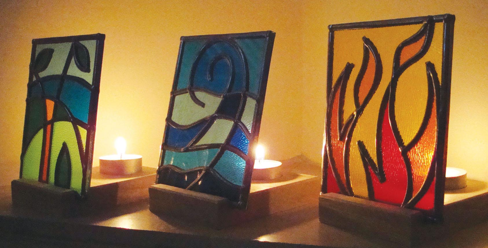 Earth, Wind & Fire stained glass t-lights