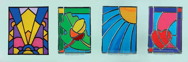 small stained glass panels, art deco, acorn, sunray & heart