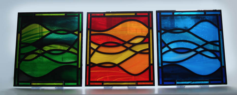 Abstract stained glass wavy patterns