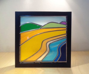 Beach stained glass square