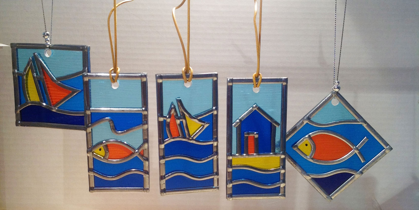 Seaside stained glass suncatcher