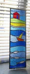 Stained glass seaside scene