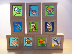 Stained glass framed Birds