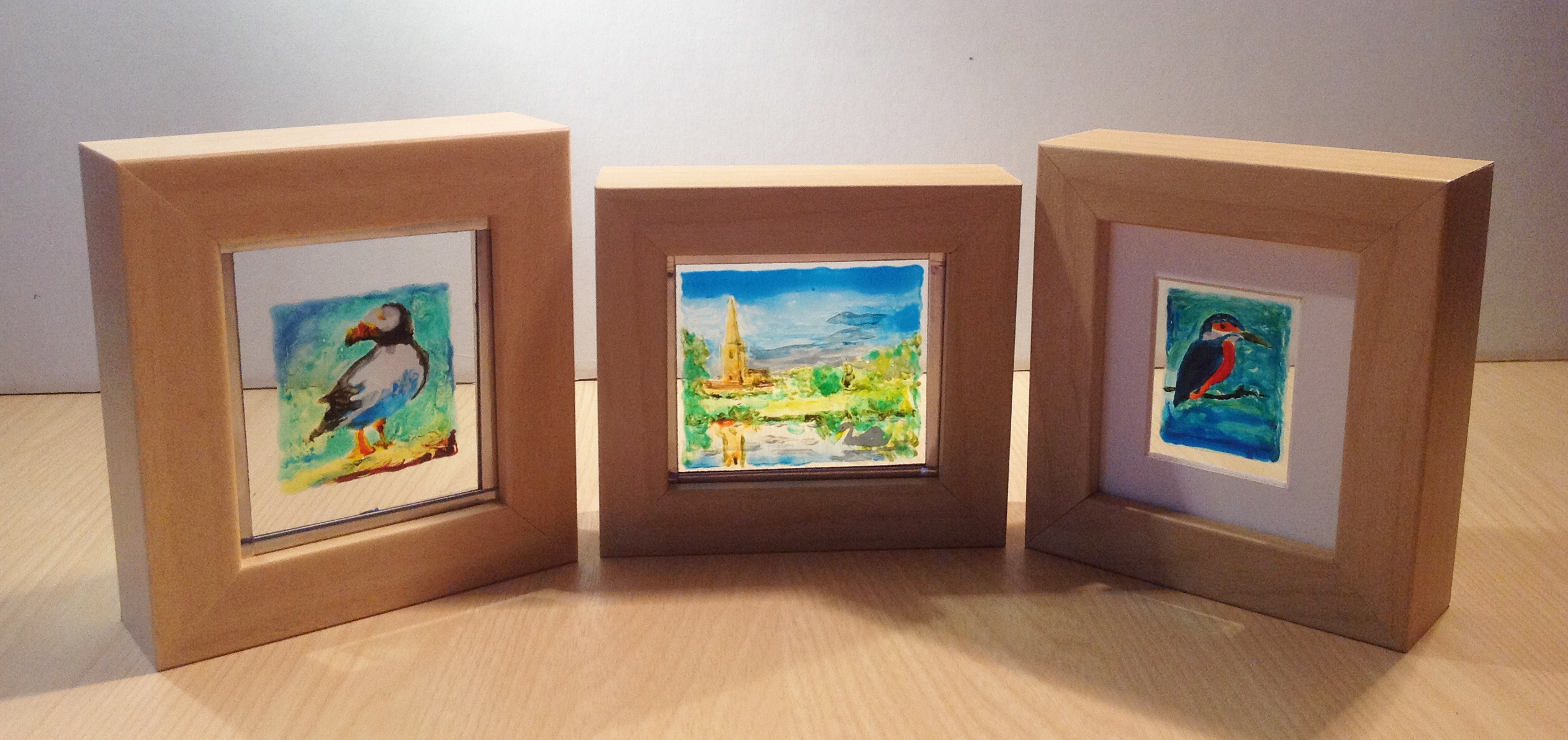 3 tiny frame painted birds