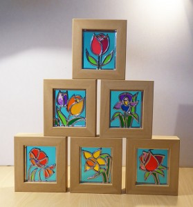 6 Stained Glass Flowers framed