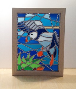 Stained glass abstract Puffin