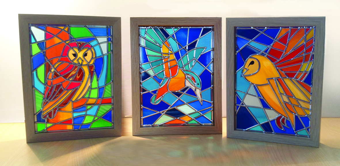 British Birds And Nature In Stained Glass Landscapes
