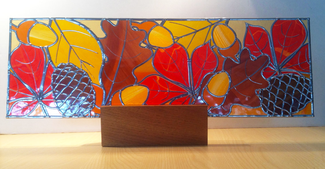 Stained glass Acorns & pine cones on oak plinth
