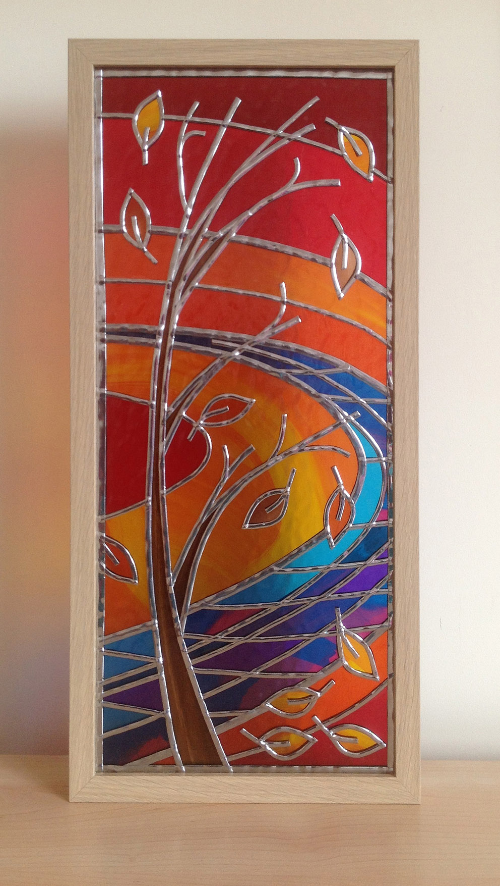 Autumn tree stained glass