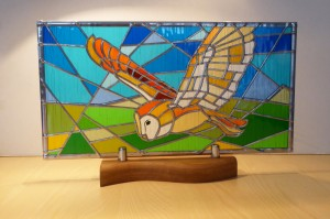 Stained Glass Flying Barn Owl on Shaped Solid Oak Plinth