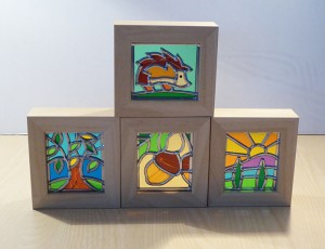 Stained glass Hedgehog, Stained Glass Tree, Stained Glass Acorn & Stained glass scene