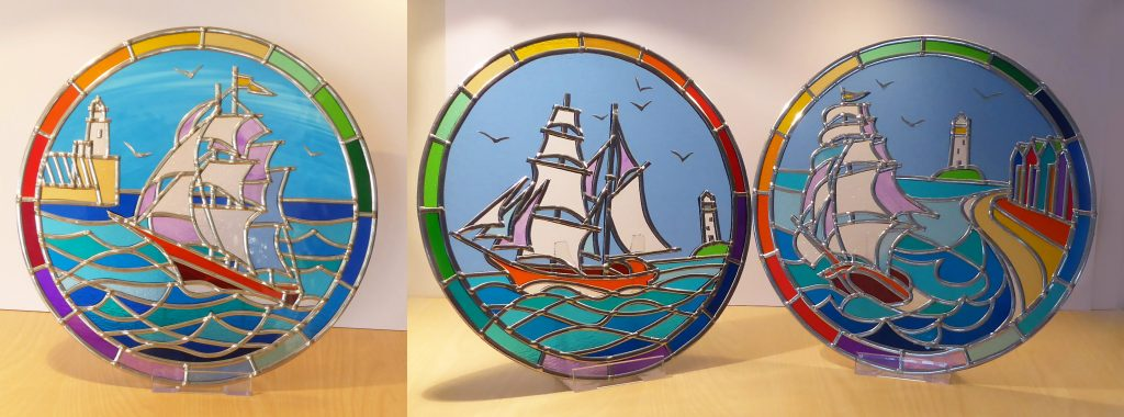 Circular Stained glass Tall Ships